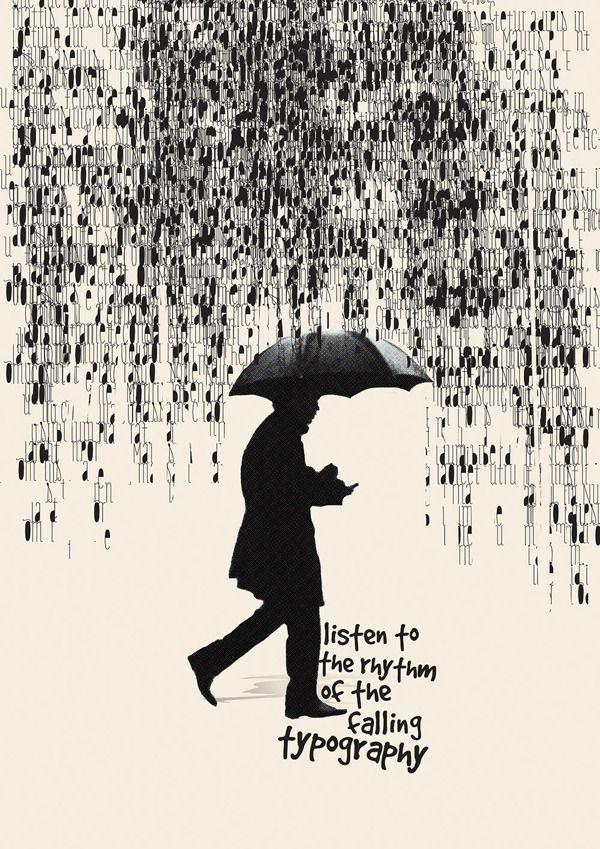 Typographie Lettre Homme Au Parapluie Affiche Noir Et Blanc Black White