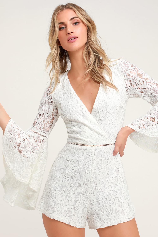 Babygirl White Lace Faux Wrap Romper In 2021 White Lace Romper White Lace Jumpsuit Resort Wear Dresses [ 1500 x 1000 Pixel ]