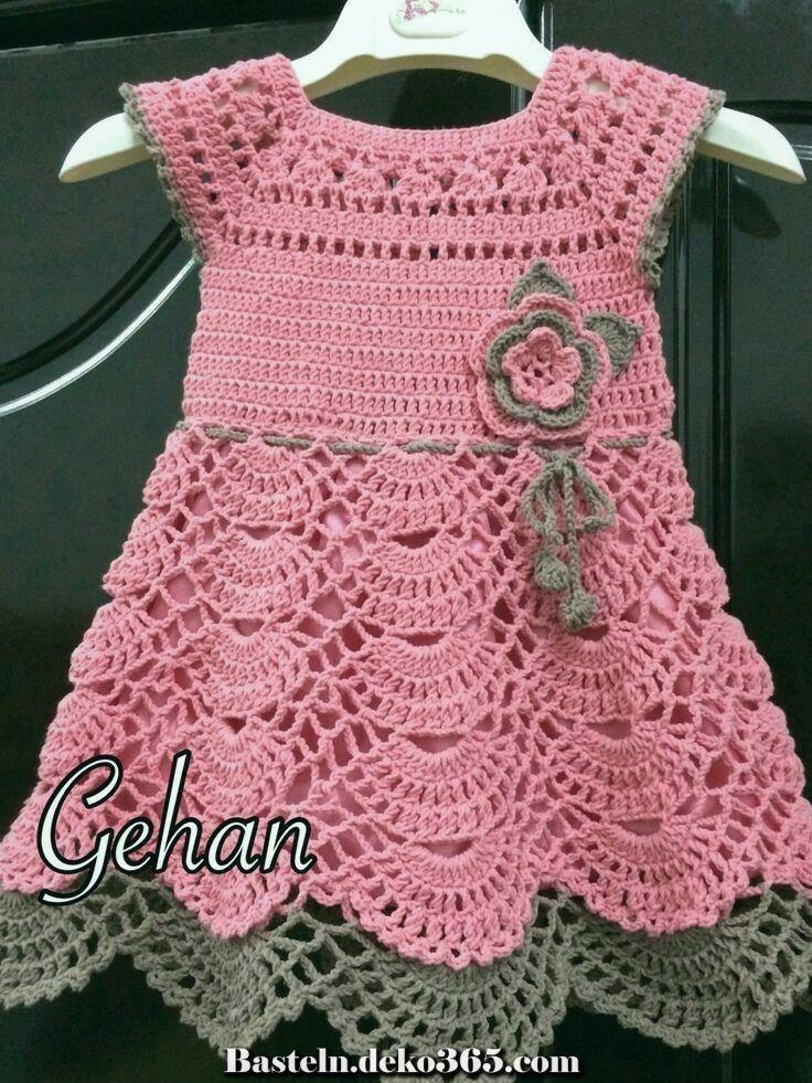 Fantastische Buntes lachsbraunes Häkelkleid #vestidosparabebédeganchillo