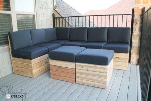 Cooles Gartensofa, Allerdings Eine Dreierbank Am Stück Als Truhe Für Die  Kissen Wäre Praktisch.