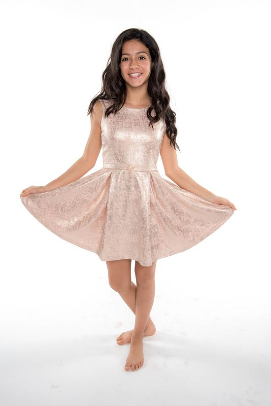 Les Tot Pes Blush Pink Gold Tween Belted Pleated Adrianna Dress 12 16