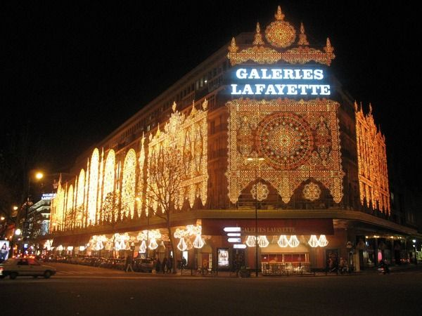 Great department stores... Galeries Lafayette, Paris, France... Paris' flagship store and the most famed department stores in the city. It was established as a small fashion outlet by Théophile Bader and his cousin Alphonse Kahn in 1893. The store quickly developed and in 1912 a glass dome and an Art Nouveau staircase were added. The gallery is a huge and chic shopping complex with a broad collection of the latest trends in fashion, jewelry, cosmetics, home accessories, foodstuffs and gifts.