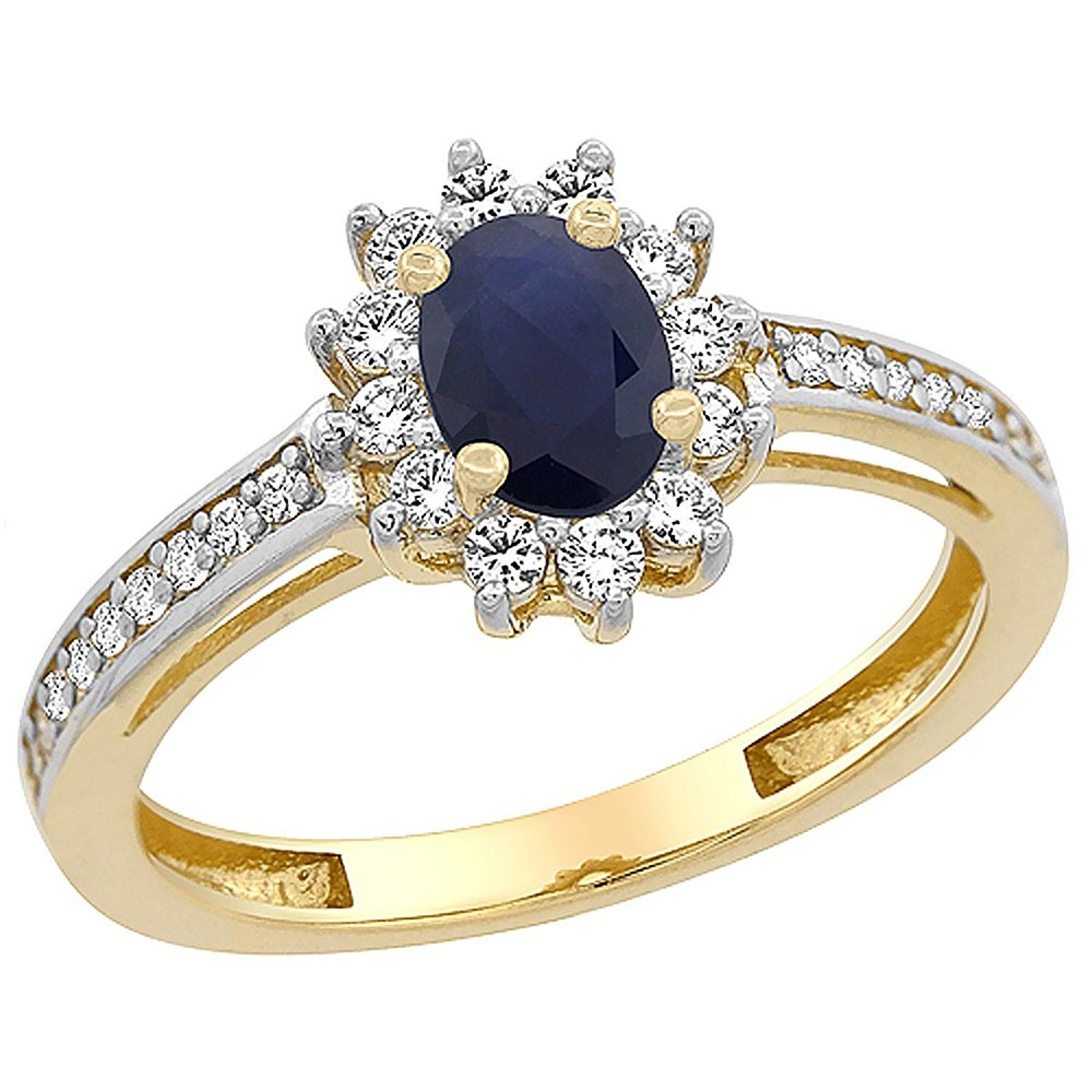 Women Gold Oval Moonstone Ring Rhinestone Diamond Cocktail 3 Colors Size 5-10