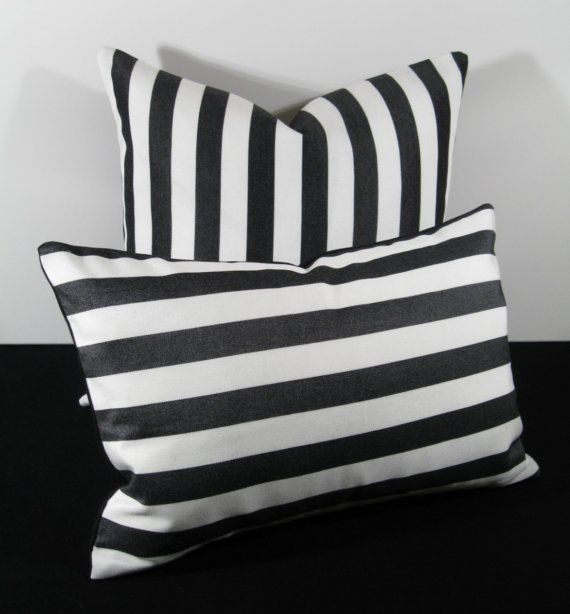 Black And White Stripe Jail Time Outdoor Pillow Cushion Inch
