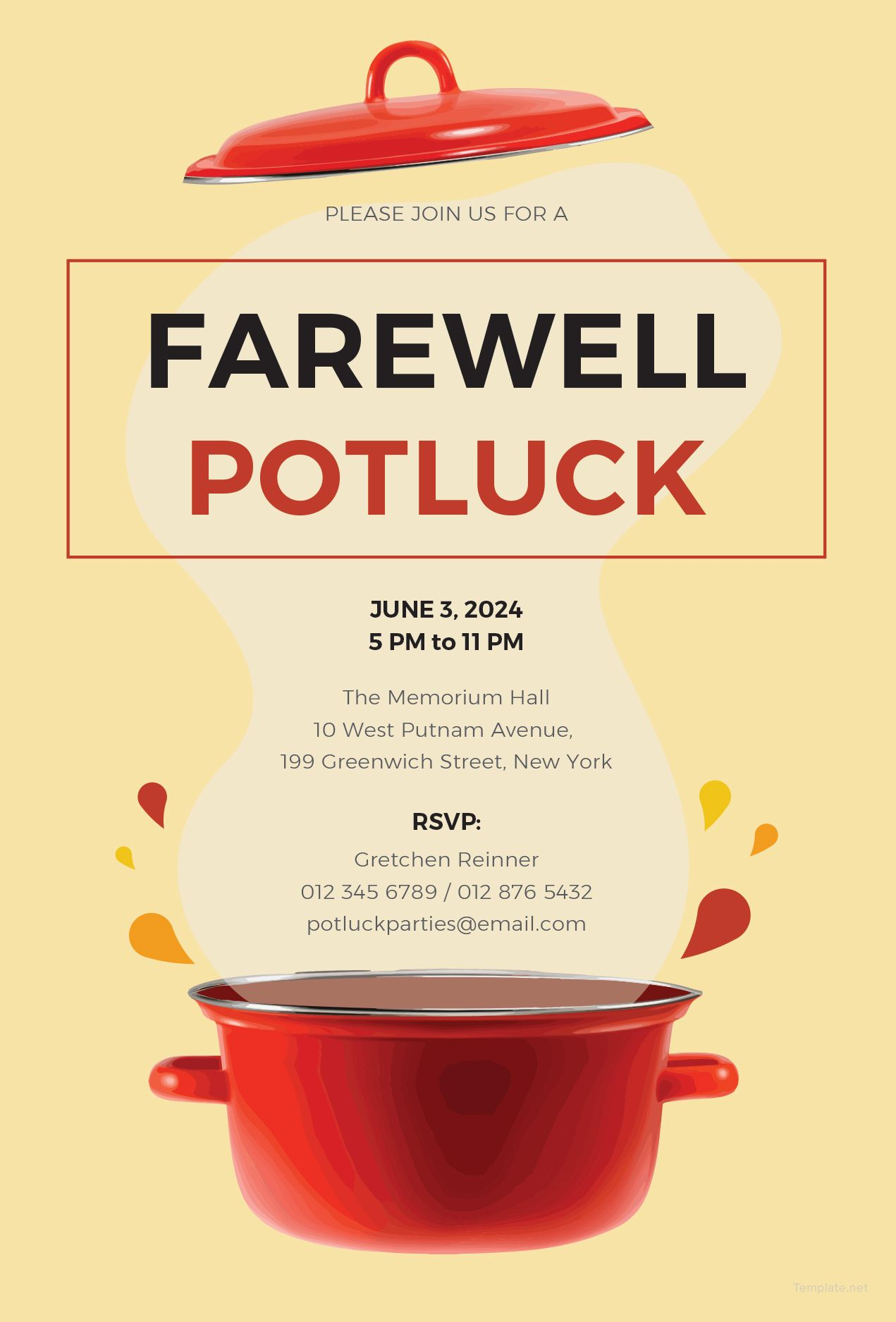 picture relating to Potluck Invitation Template Free Printable titled Totally free Farewell Potluck Invitation Exactly amazing Potluck