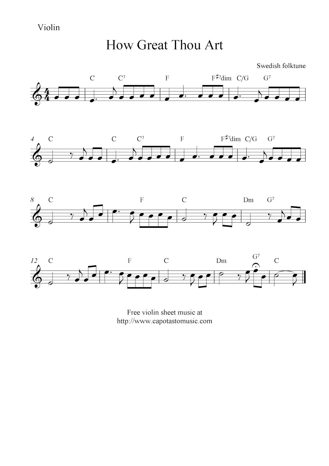 sheet music violin | How Great Thou Art, free violin sheet music ...