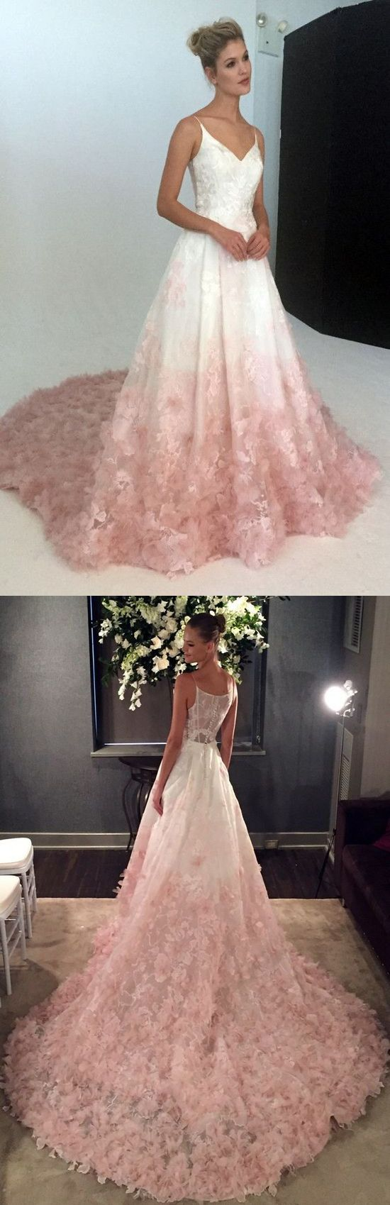 elegant straps white and pink long prom dress wedding dress | Pareja ...