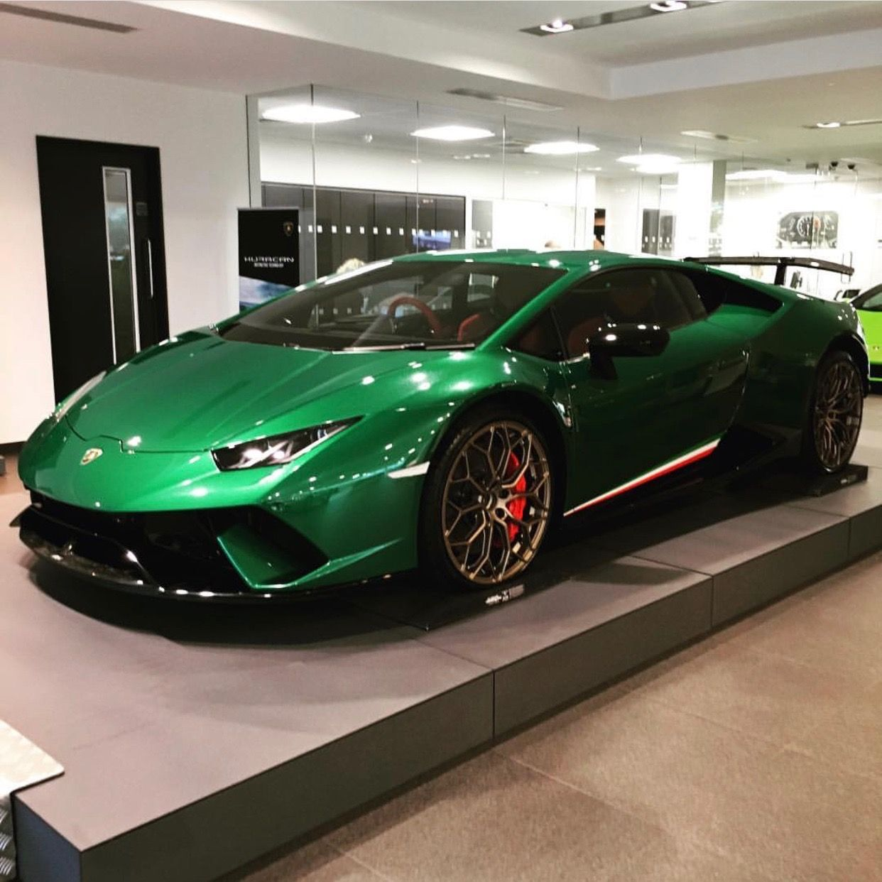 Lamborghini Huracan Performante Painted In Ad Personam Verde Balio W/  Tricolore Stripes Along The Doors