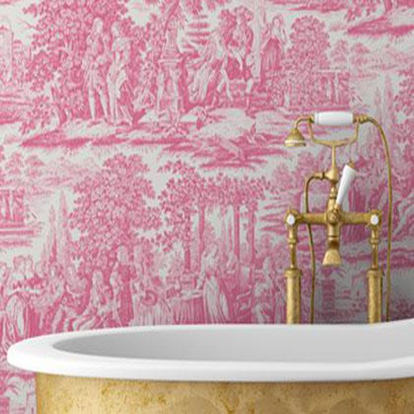 French Country Garden Toile Pink Wallpaper And Gold Bathroom Hardware French Country