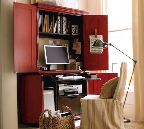 office armoire. Campton Smart Technology™ Office Armoire - Desa Ming Red | Pottery Barn