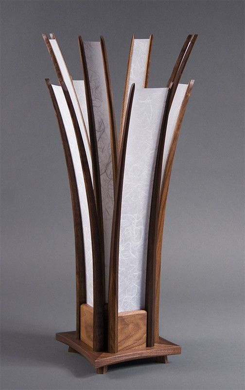 The chicago table lamp hand carved walnut shoji paper for Cool table lamps modern