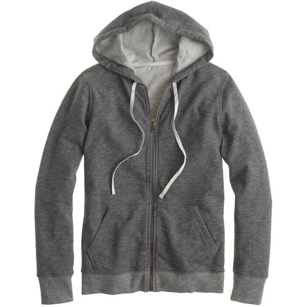 J.Crew Heathered fleece zip-up hoodie (260 RON) found on Polyvore