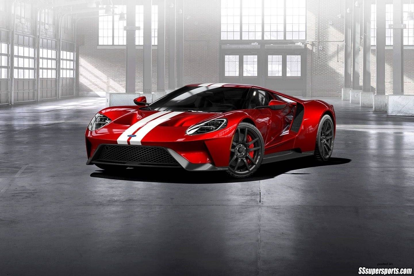1 liquid red 2017 ford gt frozen white stripes front side view