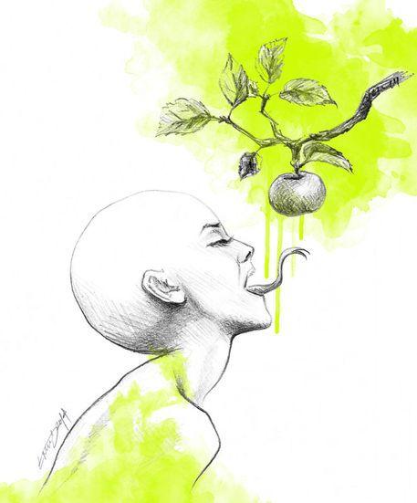 'Original sin|green' by edrawings38 on artflakes.com as poster or art print $16.63