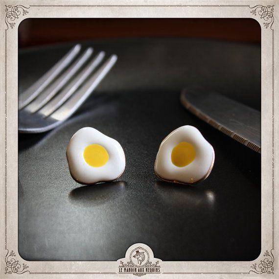 Boucles D Oreilles œufs Au Plat Fried Eggs Earrings Mini Food Bijou Jewel Le Manoir Aux Requins Oeuf Au Plat Boucle D Oreille Plat