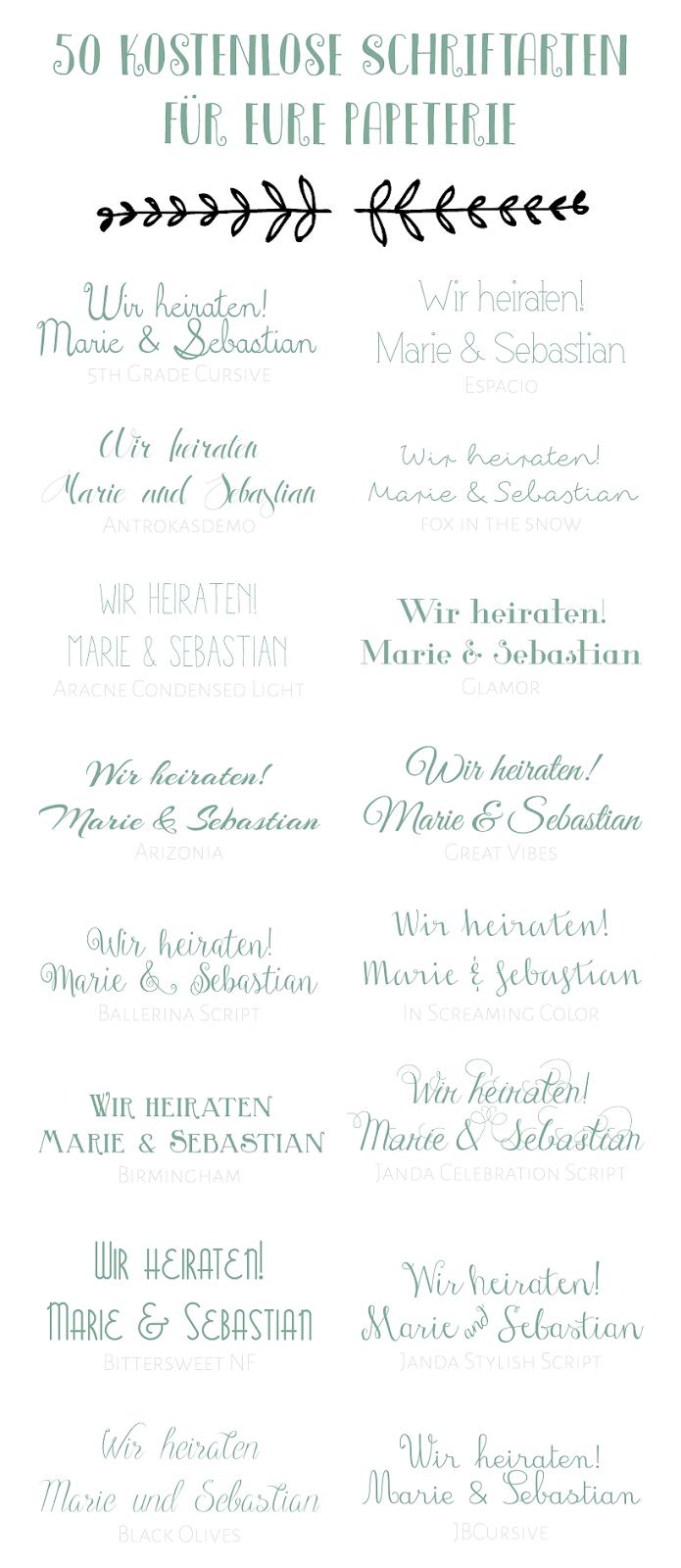 50 kostenlose Schriftarten für eure Hochzeitspapeterie - 50 free ...