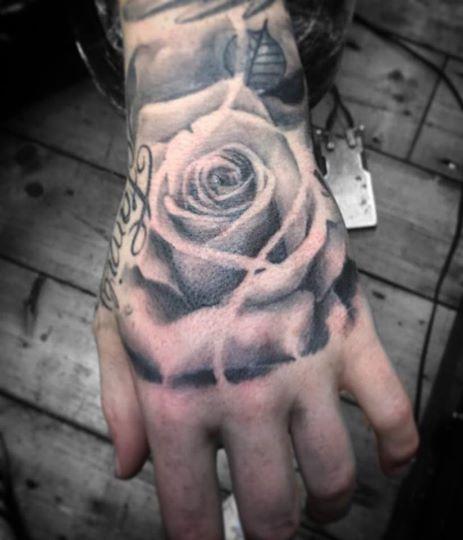 Hand Tattoo Realistic Rose Soft Shading Grey Wash Amazing Skilled Artist Studio Dublin Tattoo Dublin Tattoos Rose Hand Tattoo