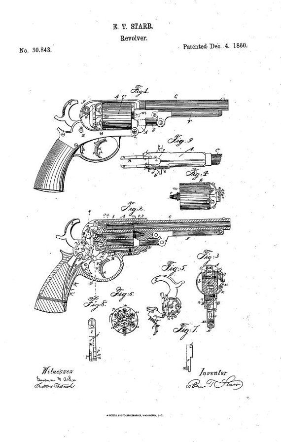 New item in my etsy shopPatent drawing for Starr Revolver 1860 by PanchromaticaDesigns. Find it here http://ift.tt/29BSOHC