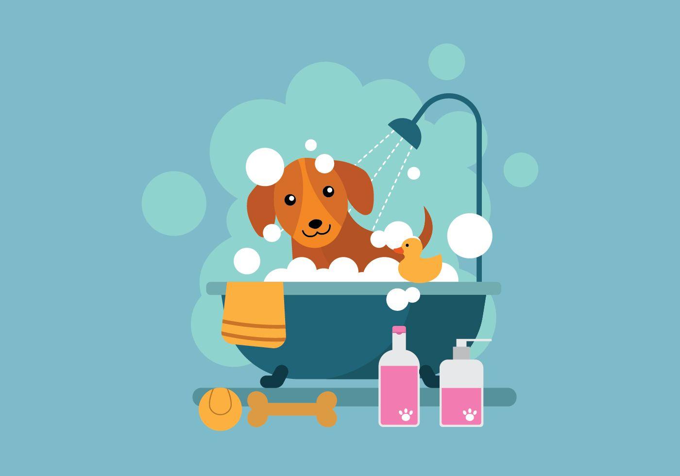 Free Cartoon Dog Taking A Bath In Bathtub Illustration Cartoon
