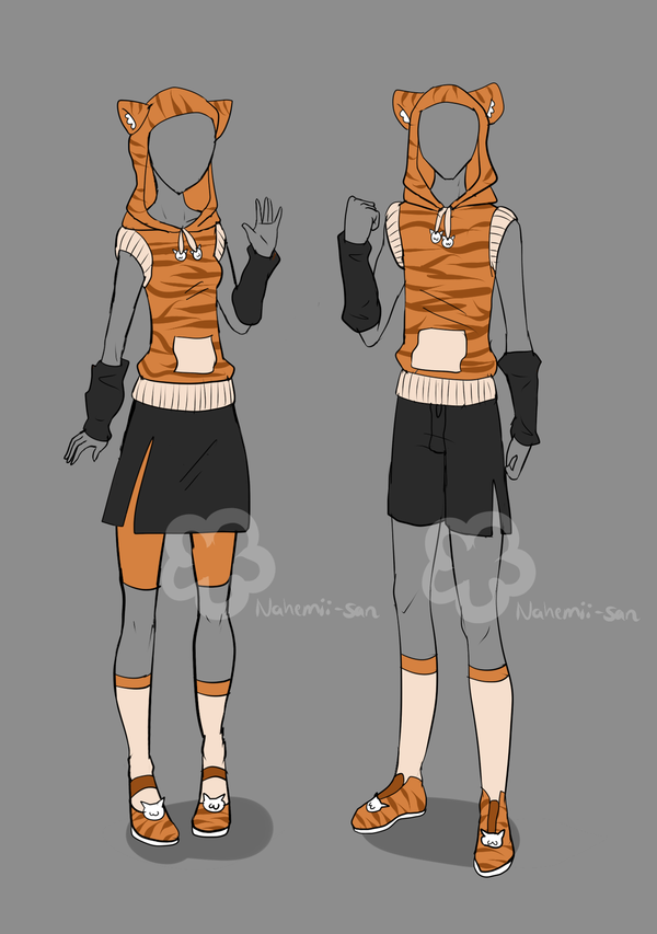 Girl N Boy Tiger Outfit Unlimited By Nahemii San On Deviantart Fashion Design Sketches Manga Clothes Character Outfits