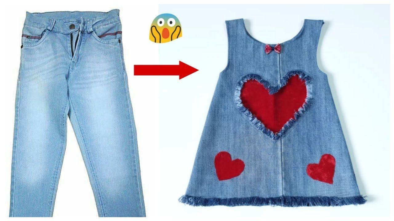 f82db5f99f1d Fast conversion of old jeans into a stylish baby dress with all ...