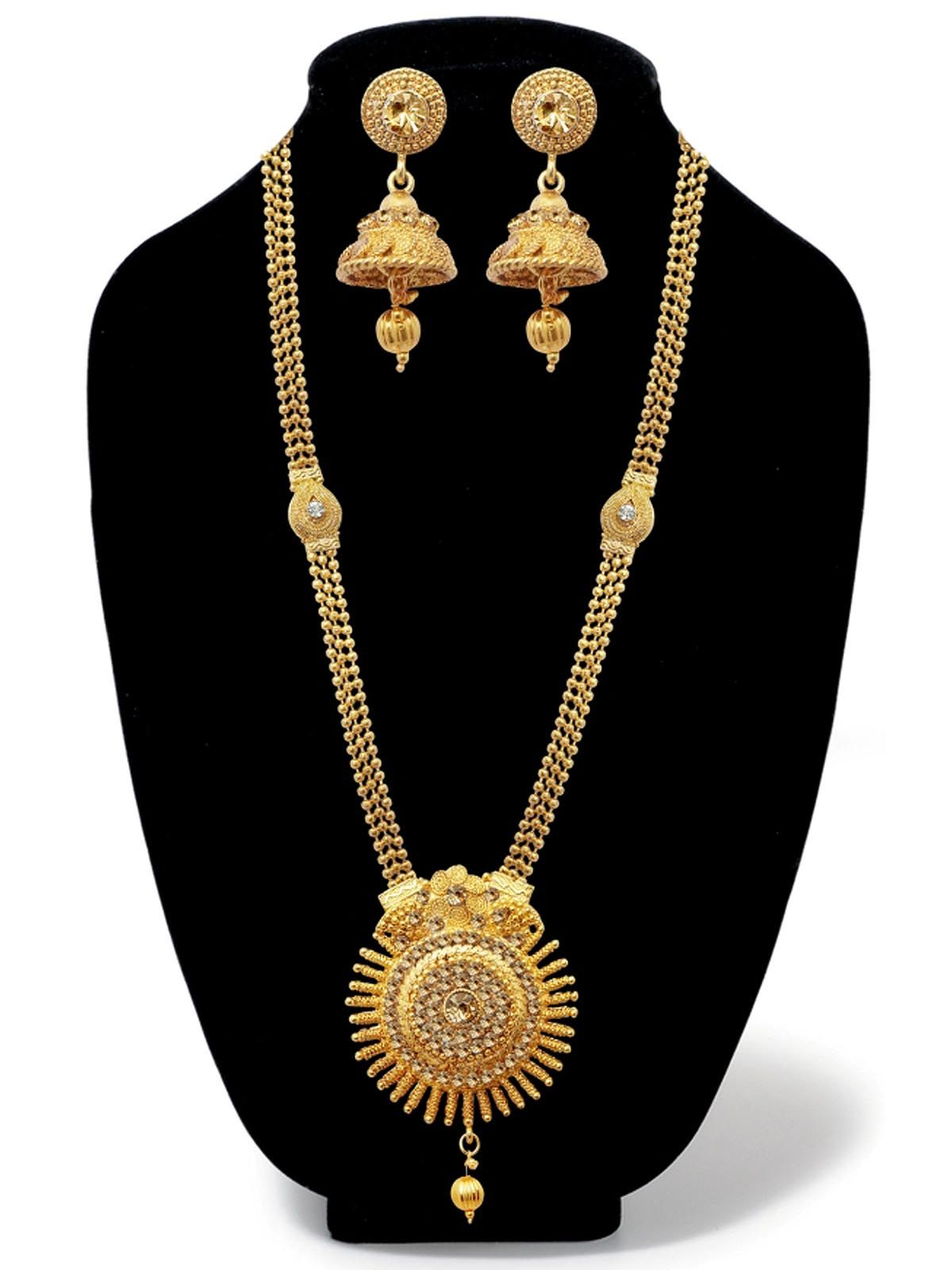 Genial Vintage Golden Austrian Stone Wedding Wear Jewellery Set 1 Perhiasan Rhodium Gives You An Alluring Look In