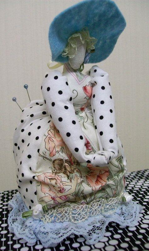 Victorian Lady Pincushion Doll Fairy Dress Blue by theThread, $32.00