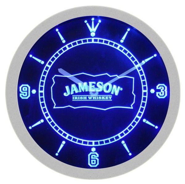 Jameson Irish Whiskey Neon Sign Bar Wall Clock | Bar signs