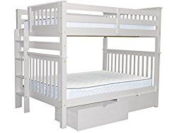 Bedz King Mission Style Bunk Bed Full Over With End Ladder And 2 Under