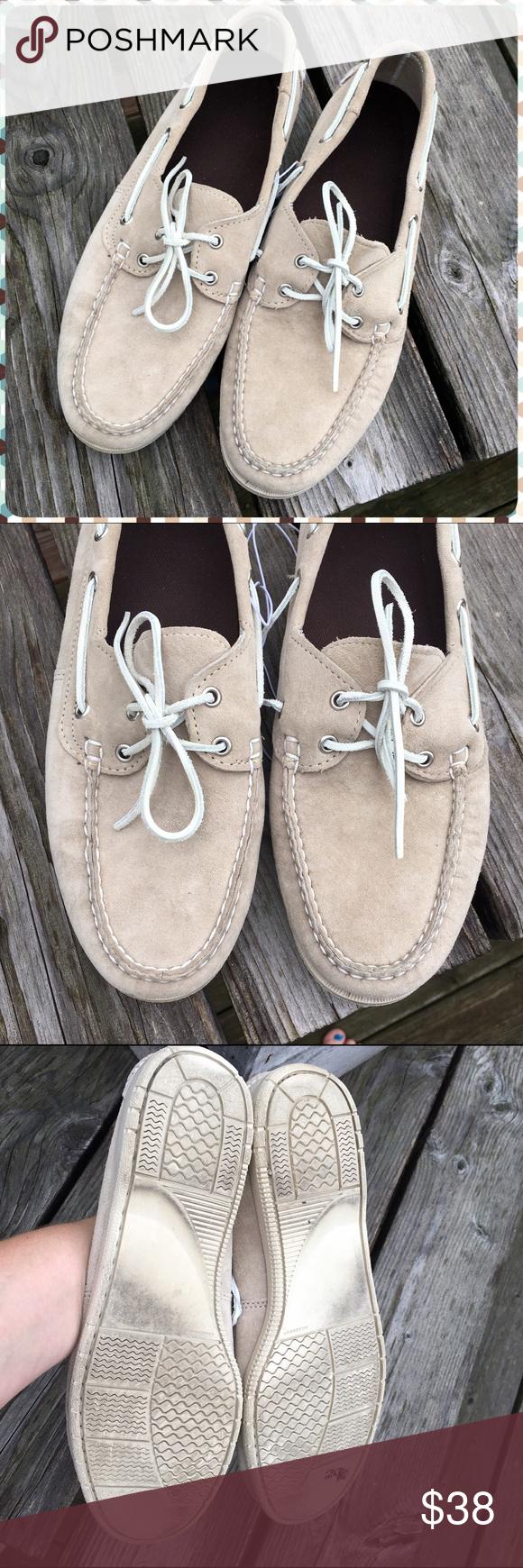 Listing! Eddie Bauer Men's Boat Shoes! EUC! Light taupe