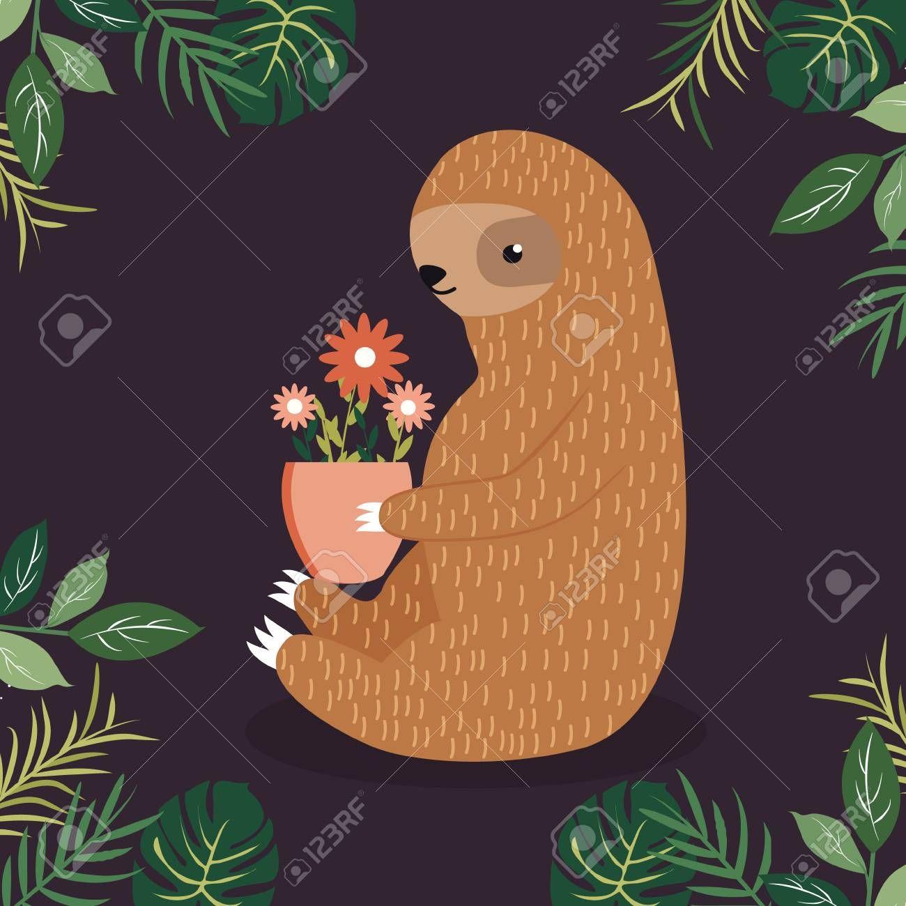 Stock Vector Cute sloth, Sloth, Vector art