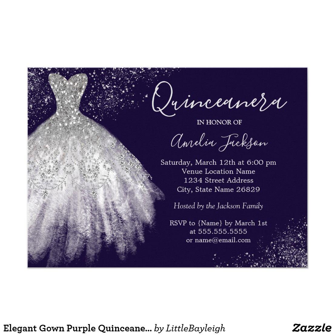 Elegant gown purple quinceanera invitation more pretty quinceanera elegant gown purple quinceanera invitation stopboris Choice Image