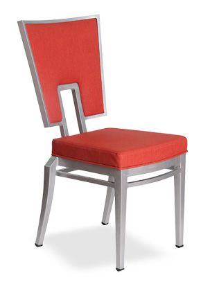 """""""Nice Metal Stack Chair v.2"""".  Features a wide back that tapers towards the middle and a flexible back for added comfort. Stackable 6-8 high.  Please contact us for pricing (718)363-3097."""