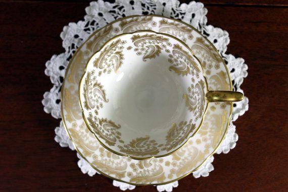 Stunning Cabinet Royal Stafford Cup and Saucer -  Gilt Filigree - High Handled 12118