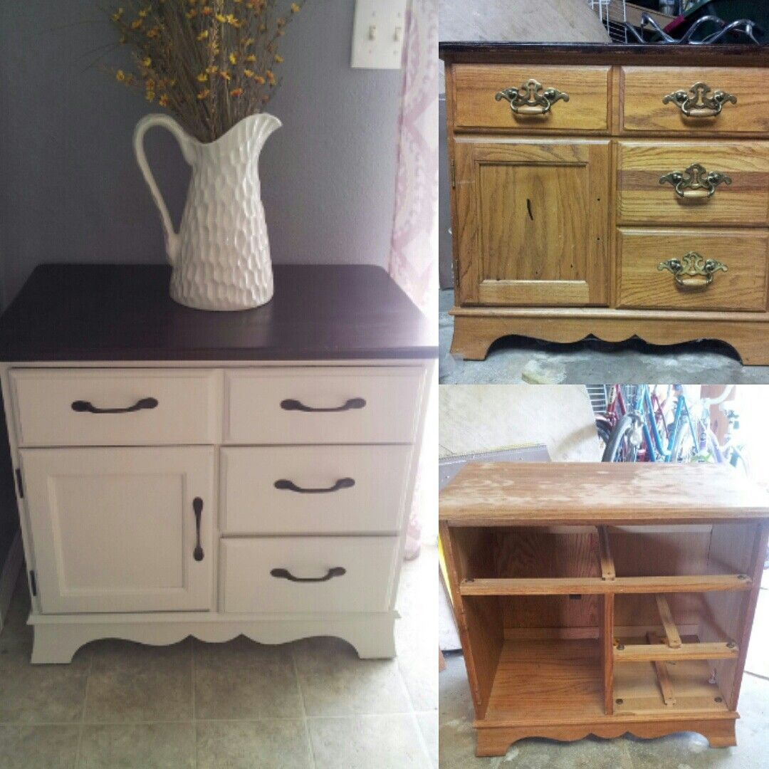 Before and after shabby chic nightstand