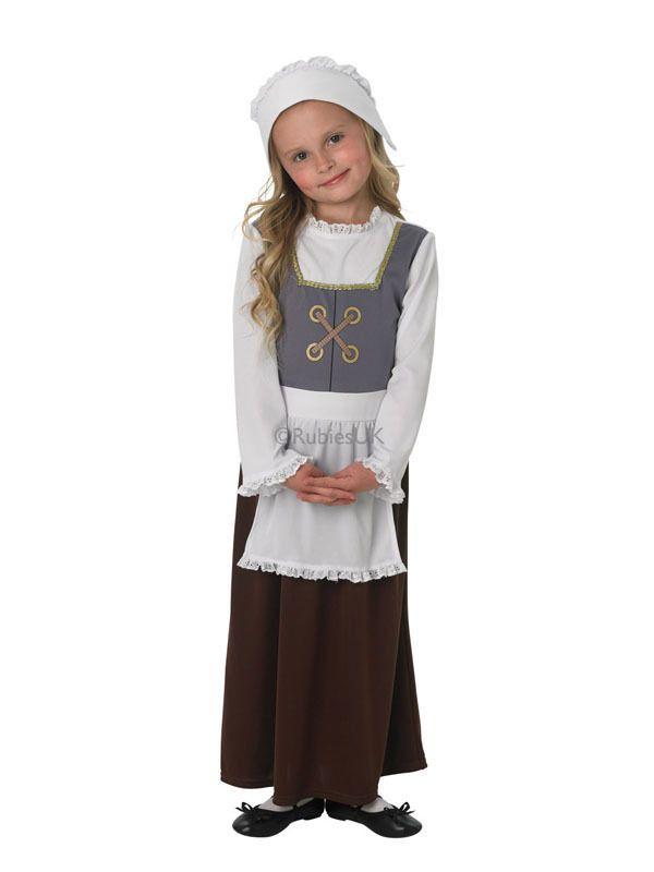 Victorian Poor Servant Book Day Edwardian Childs Kids Girls Fancy Dress Costume