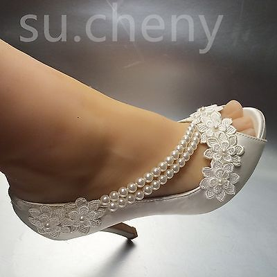 Su Cheny 8 10 Cm Heel Pearl White Ivory Silk Lace Open Toe Wedding Bridal Shoes Wedding Shoes Italian Wedding Shoes Bridal Shoes