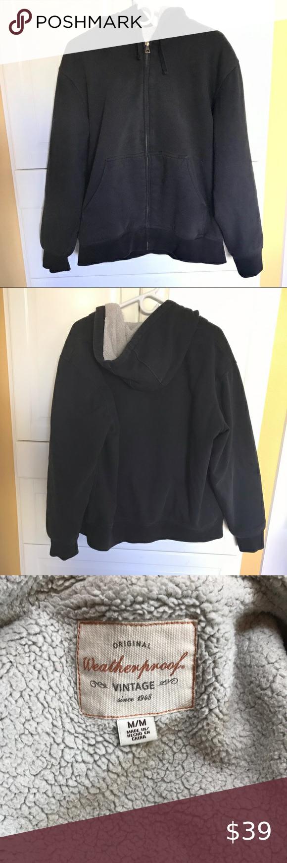 Weatherproof Vintage Black Zip Up Hoodie Jacket M Men S Original Weatherproof Vintage Since 1948 Black Zip Up Hoodie In 2020 Black Zip Ups Hoodie Jacket Vintage Shirts