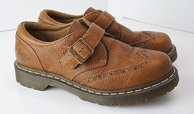 Dr #DocMartens CHANNON Brown Leather Monk Wing-Tip Shoe US 8 EU 39