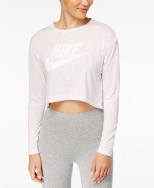 6d6ee52589a40b Nike Sportswear Essential Long Sleeve Cropped Top - Pink XL ...