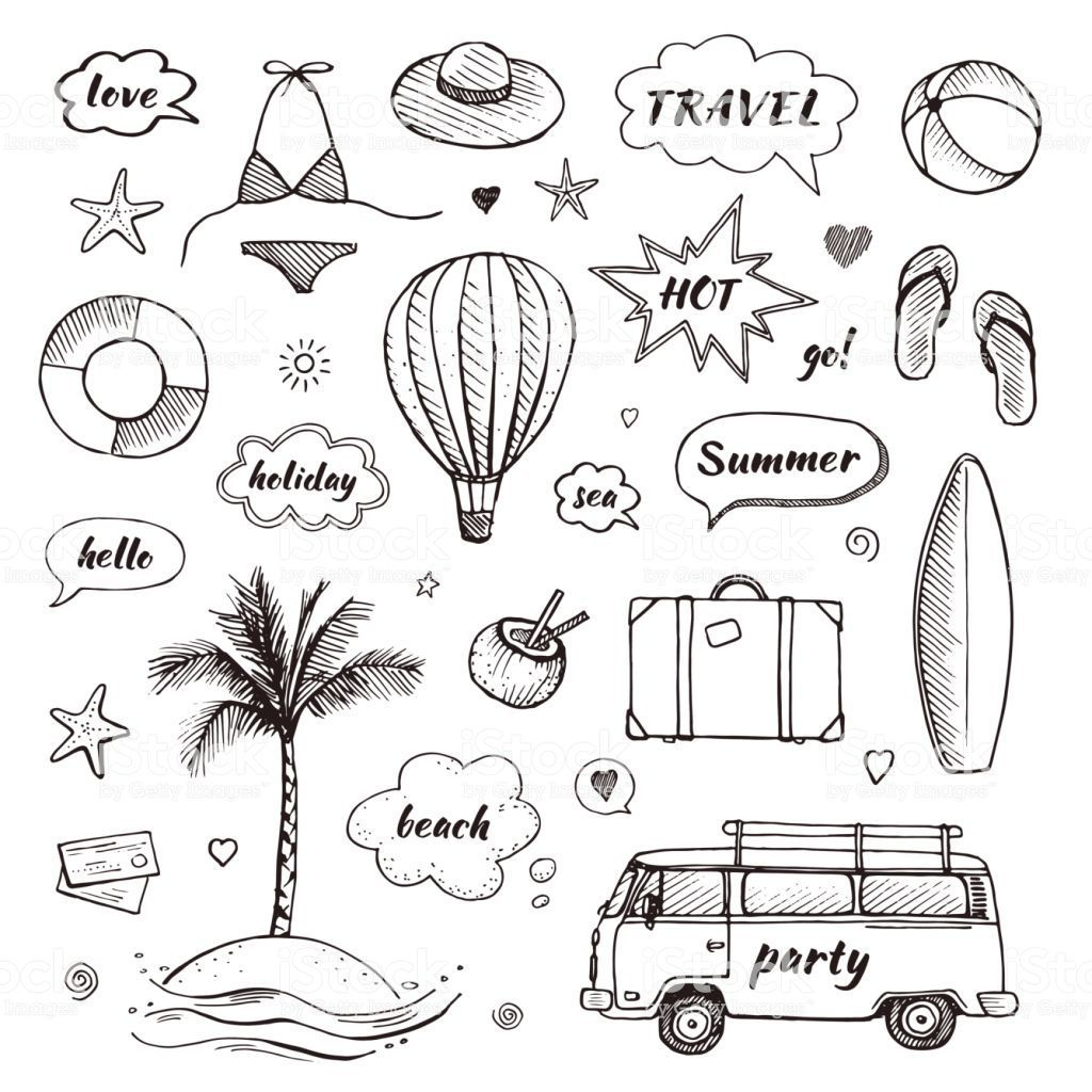 Set of hand drawn travel doodle. Tourism and summer sketch with... -