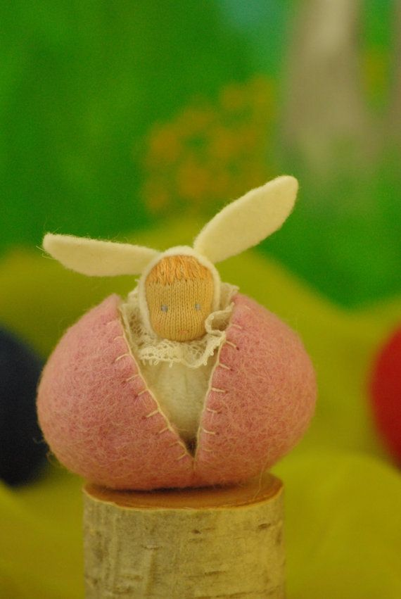 Easter Bunny in a woolen egg bunny 35 cm 14 tall egg by TaleWorld