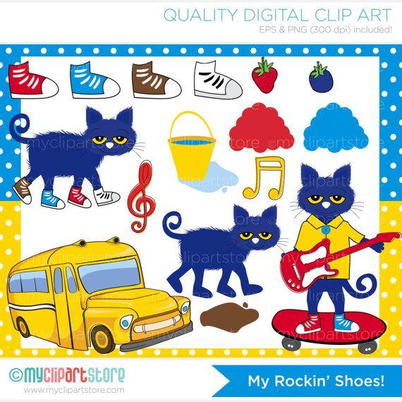 My Rockin Shoes Pete Cat Clip Art Digital Clipart Instant Download Clip Art Digital Clip Art Cat Clipart