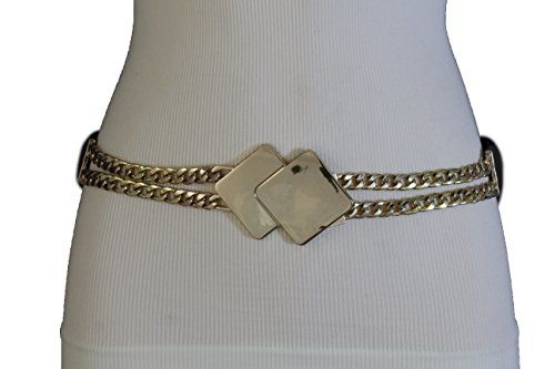 Trendy Fashion Jewelry Women Fashion Gold Metal Chain Belt Hip Waist Black  Stretch Square Buckle S M 6dd4baff8