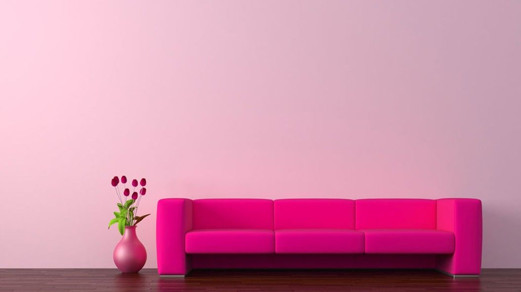 Living Room Decoration Pink Walls Red Sofa Wood Flooring