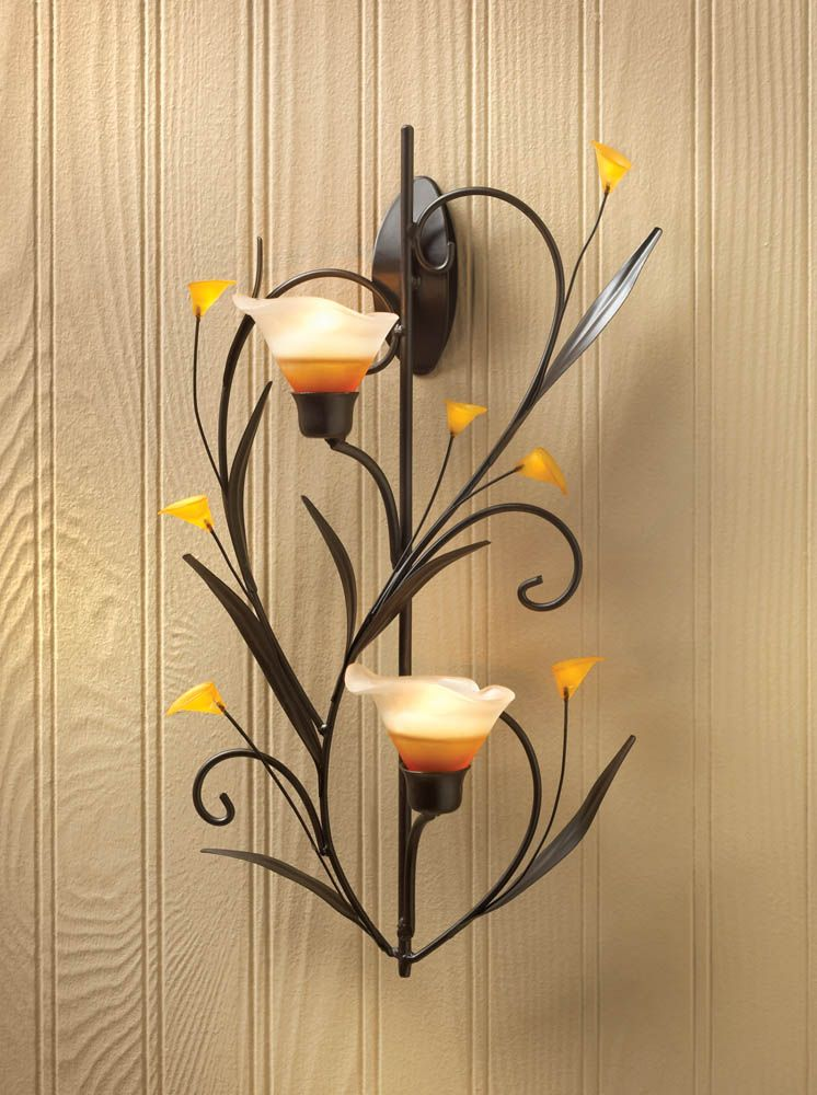Amber Lilies Candle Wall Sconce From Koehlerhomedecor Com Make A Dramatic Statement Of Natural Style Wholesale Candle Holderscandle