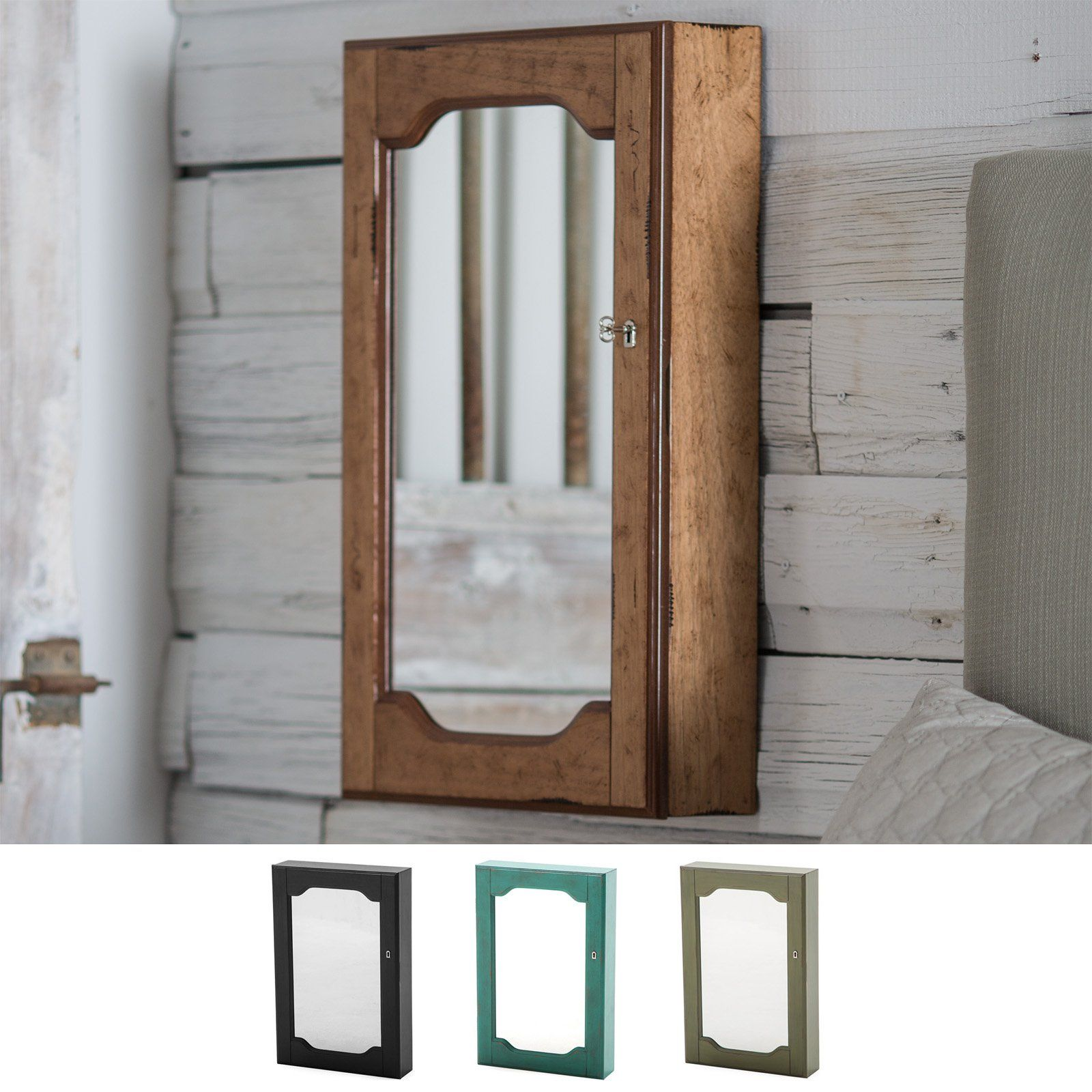 Distressed Wall Mount Mirrored Locking Jewelry Armoire from