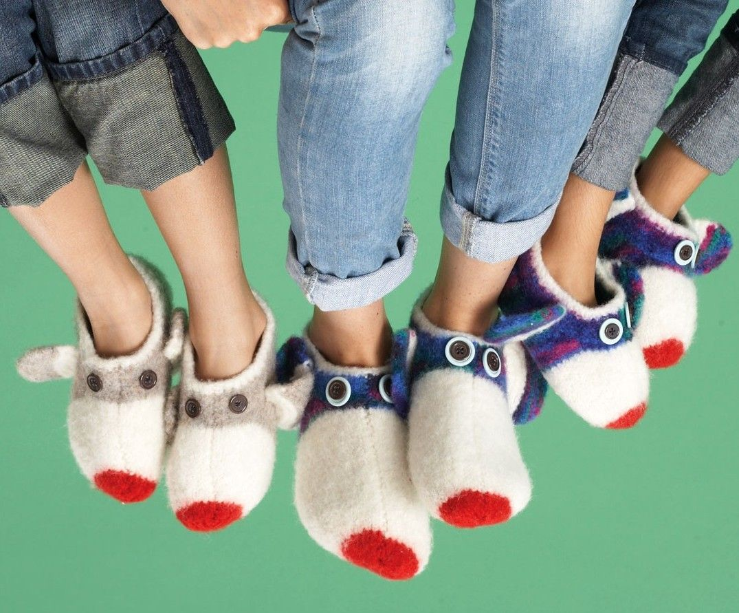 Free knitting pattern for Felted Sock Monkey Slippers and more sock ...