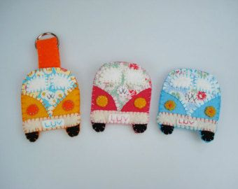 VW campervan handmade gift Personalized pink/blue/orange Felt & Fabric UK seller