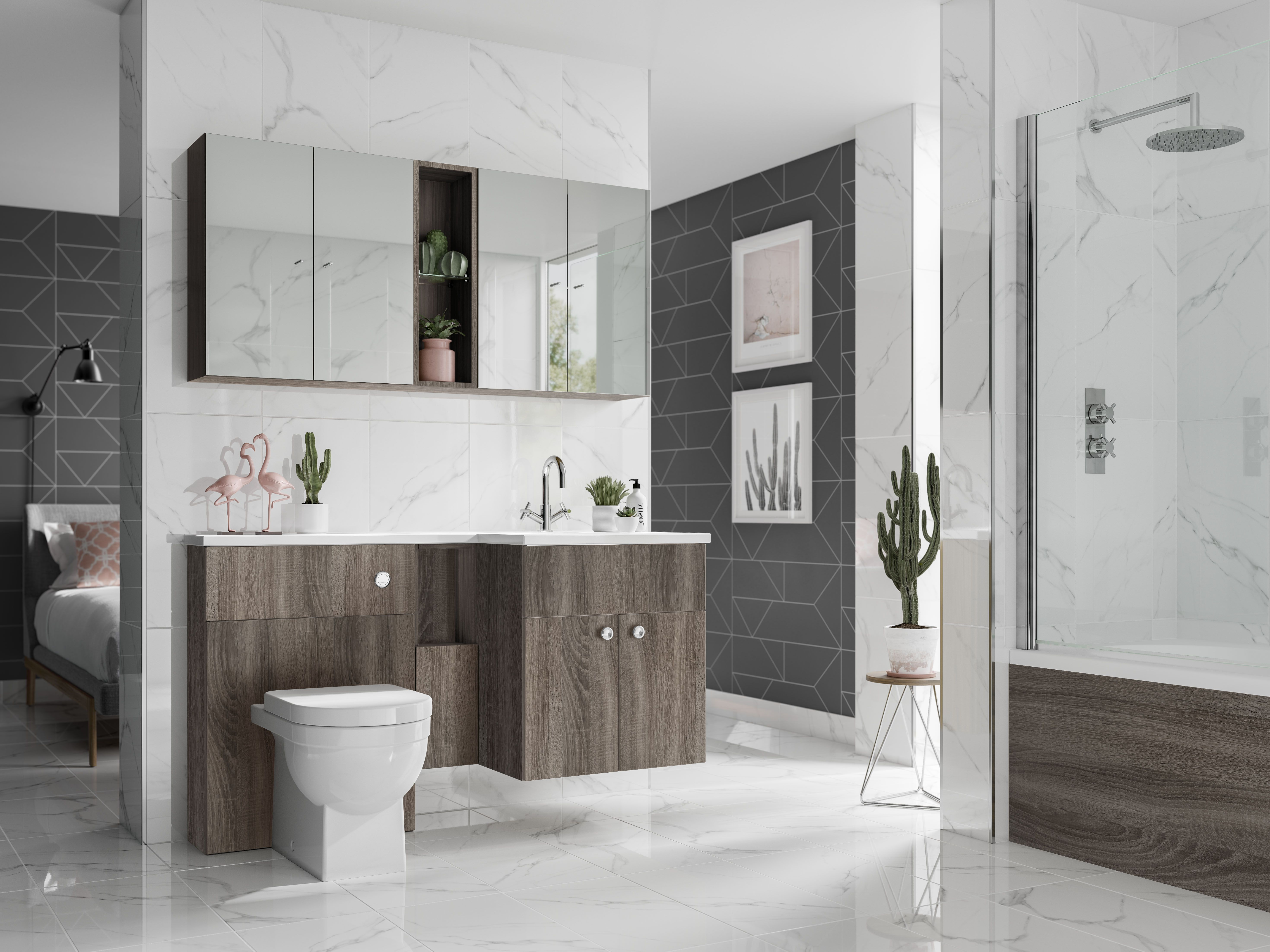 Oak wood fitted bathroom furniture from utopia bathrooms wood in